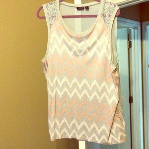 Grey/pink sleeveless blouse